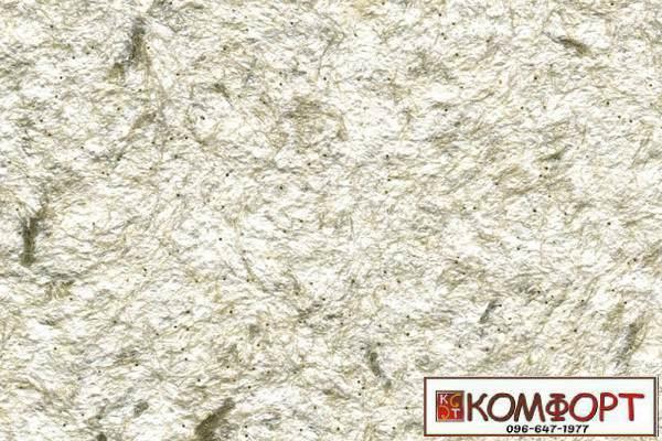 Образец жидких обоев Стиль белого цвета с добавлением окрашенного волокна в оливковый цвет