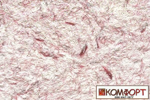 Образец жидких обоев Стиль белого цвета с добавлением окрашенного волокна в бордовый цвет