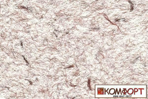 Образец жидких обоев Стиль белого цвета с добавлением окрашенного волокна в коричневый цвет