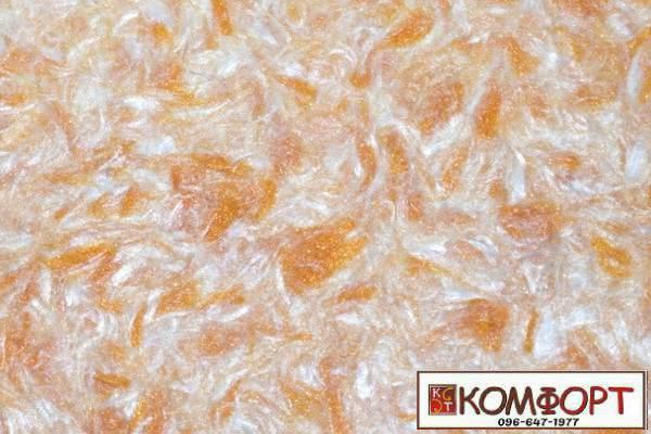 Образец жидких обоев Стиль белого цвета с добавлением окрашенного волокна в оранжевый цвет