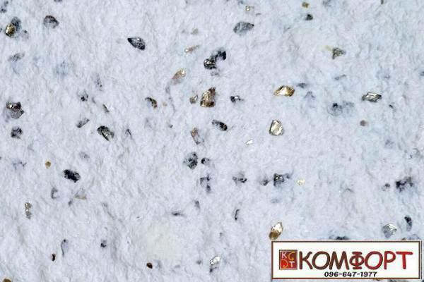 Образец жидких обоев Стиль белого цвета с добавлением природной слюды, искусственного камня для декорации