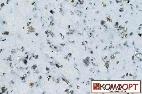 Образец жидких обоев Стиль белого цвета с насыщенным добавлением природной слюды, искусственного камня для декорации