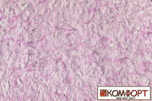 Образец жидких обоев Стиль белого цвета с добавлением нити окрашенной в розовый цвет