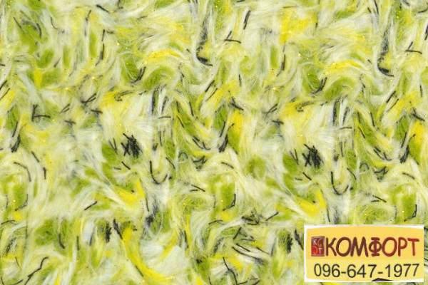 Образец жидких обоев Limil Каталог 4 с волокном желтого, зеленого цвета, резанной черной нитью